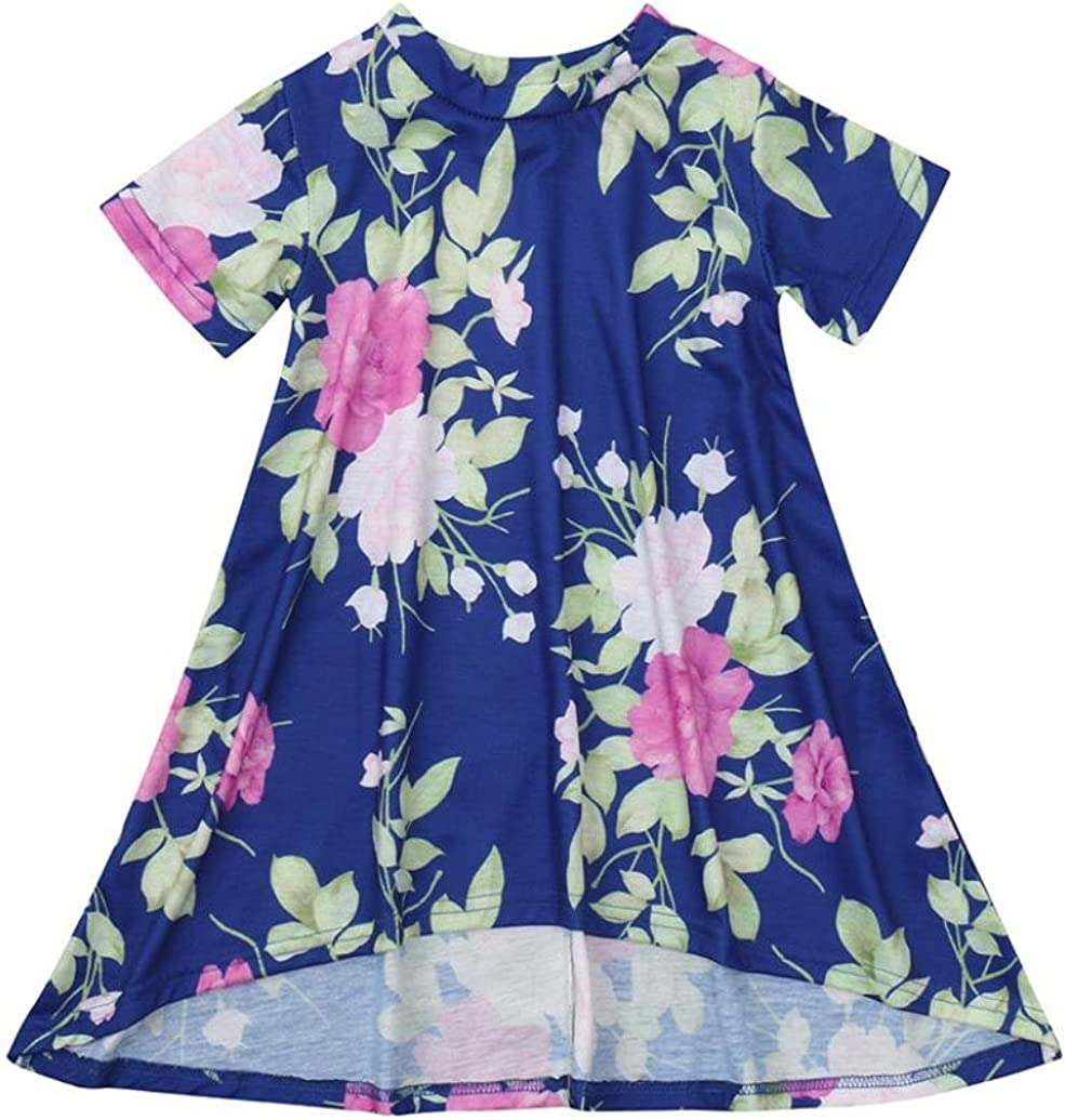 Baby Girls Kids Pink Floral Match Daughter Family Dress Sundress Clothes Pollyhb Baby Girls Dress 6 Months - 4 Years