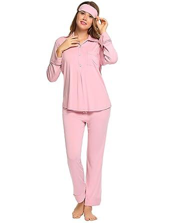uk availability bcec9 111f5 Caeasar Damen Zweiteiliger Schlafanzug Schlafanzug Hemd Kragen weich bequem  Knopfleiste aus Viskose Pyjama
