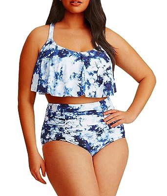 781ca8c812ebc Amazon.com: YONYWA Women Floral Plus Size Swimwear High Waisted 2 Piece  Swimsuits Ruffles Bikini Sets: Clothing