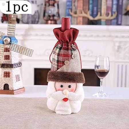 C-GRMM Juego de Tapas de Botellas de Vino Decoraciones navideñas para el hogar Santa Claus Snowman Stocking Gift Decoración de Fiesta de año Nuevo, 1PC A: Amazon.es: Hogar