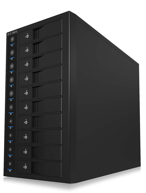 Ventilateur ICY BOX Tour de Disque Dur 10 x 3,5 Pouces avec bo/îtier de Disque Dur Individuel EasySwap Bloc dalimentation Britannique USB 3.0 Acier