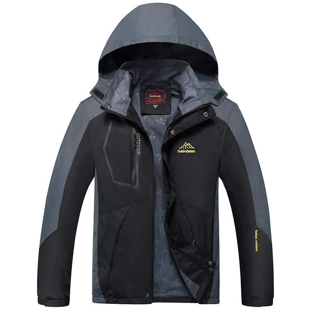 Noir 5XL AIMADO Manteau Coupe-Vent à Capuchon imperméable décontracté de Veste de Ski imperméable de Montagne de Patchwork d'hommes Vestes de Sport