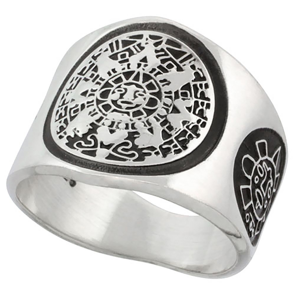 Sterling Silver Aztec Calendar Ring for Men Mayan Sun Sides 18mm wide, size 13