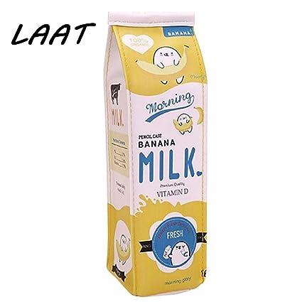 Laat creativa caja de leche – Neceser Bolsa de Bolígrafo Multifunción Lápiz Papelería Pochette 20x5x6cm amarillo