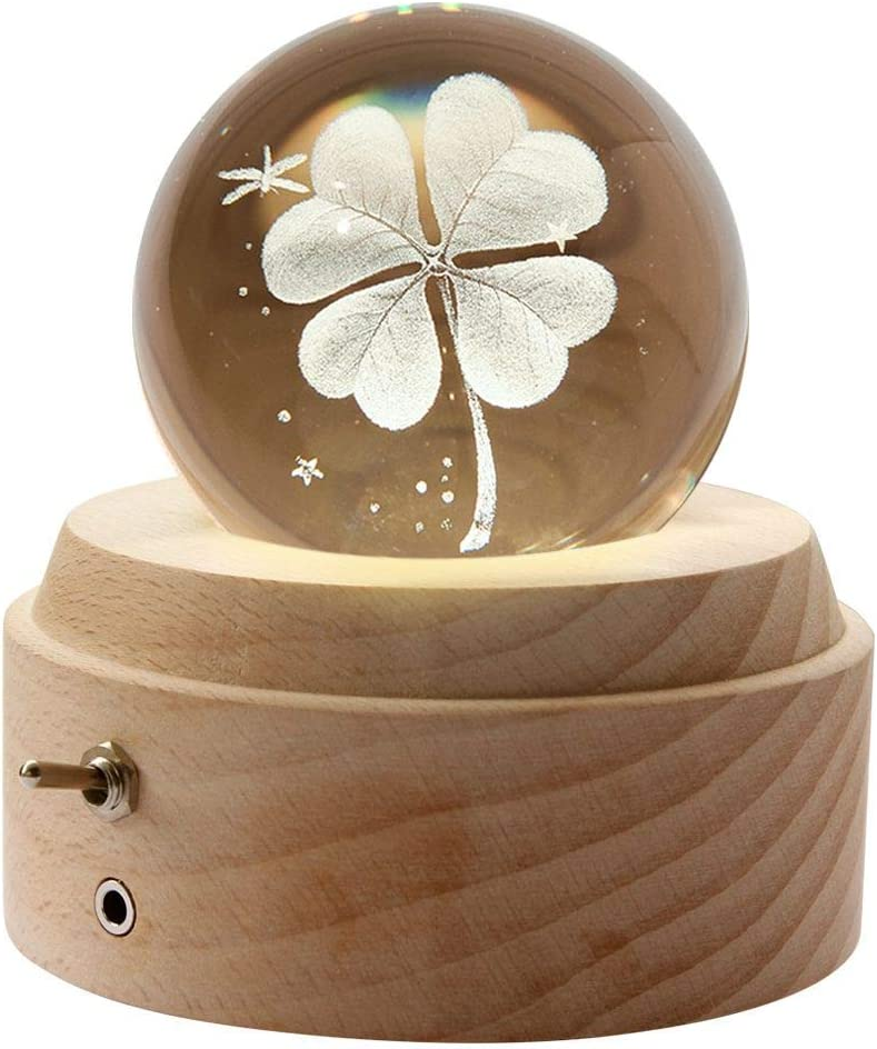 Wooden Music Box,3D Crystal Ball Starry Music Box Luminous Rotating Musical Box with Projection LED Light and Wood Base Best Gift for Birthday Christmas Valentines Day Home Decor