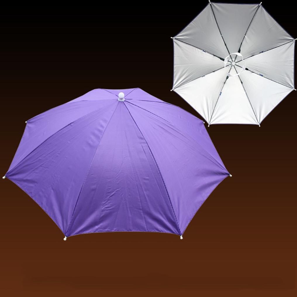 Hot Pink Fullfun Foldable Outdoor Sunscreen Umbrella Cap Sun Hat Sun Hat