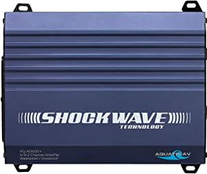 Aquatic AV AQ-AD600.4 4-Channel Marine Amplifier, 600W Max Power, Frequency Response 15Hz - 25kHz, 4 RCA (4V) Inputs, Class D Digital Amplifier, Gold Plated Connectors, Waterproof