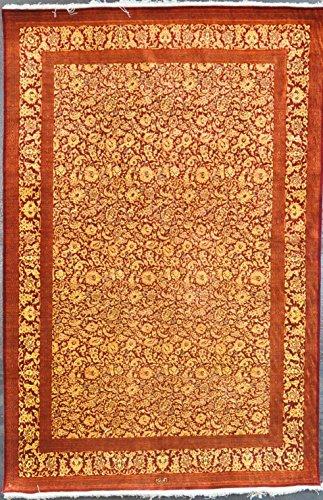 4.3x6.4 persian qum silk #50012 - Amir Rugs Qum Silk Rugs