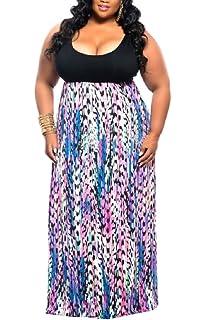 Blue Chevron Maxi Dress Plus Size