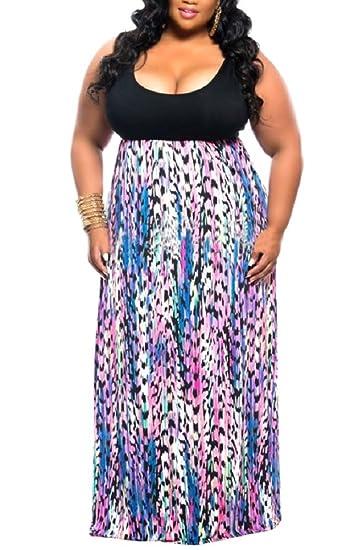 WearLove Women\'s Plus Size Scoop Neck Sleeveless Tank Top Chevron Zig Zag  Stripe Maxi Dress