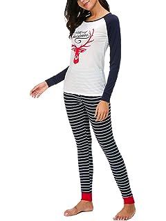 ORQ Women s Merry Christmas Letter Print Striped Christmas Matching Pajamas  Sets Sleepwear 3f4c30c52