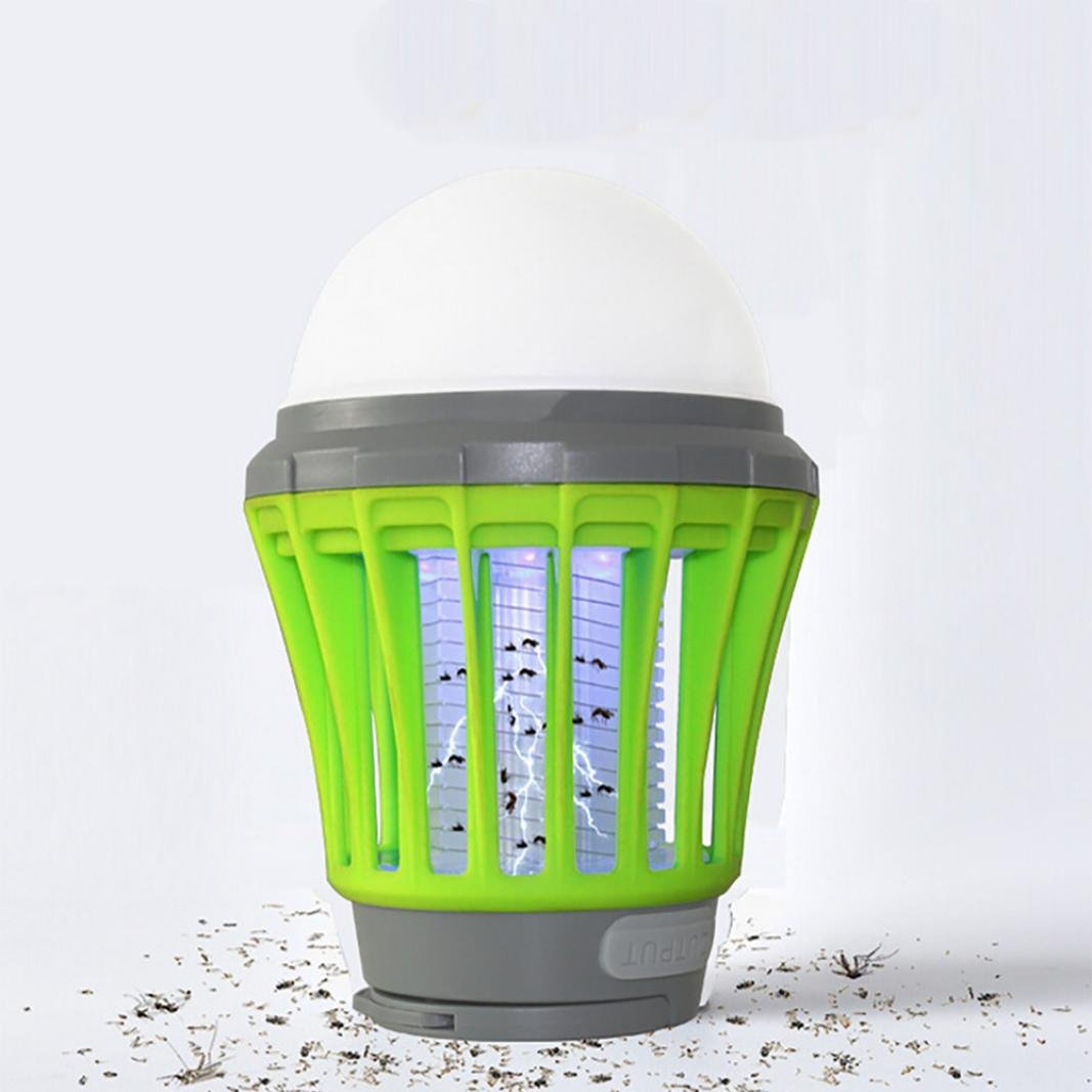 Mosquito Killer Lamp UV Solar LED Electric Fly Insect Bug Pest Control Fly Bug Insect Killer for Home Restaurant Hotel Gessppo (Green)