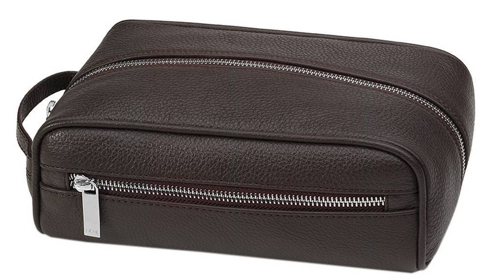 Mud Brown Travel Deer-Grained Leather Beauty Case by Giorgio Fedon 1919