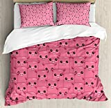 Ambesonne Pig Decor Duvet Cover Set Queen Size, Smily Square Faced Little Pigs Eyes Noses Crowd Herd of Animals Pattern, Decorative 3 Piece Bedding Set with 2 Pillow Shams
