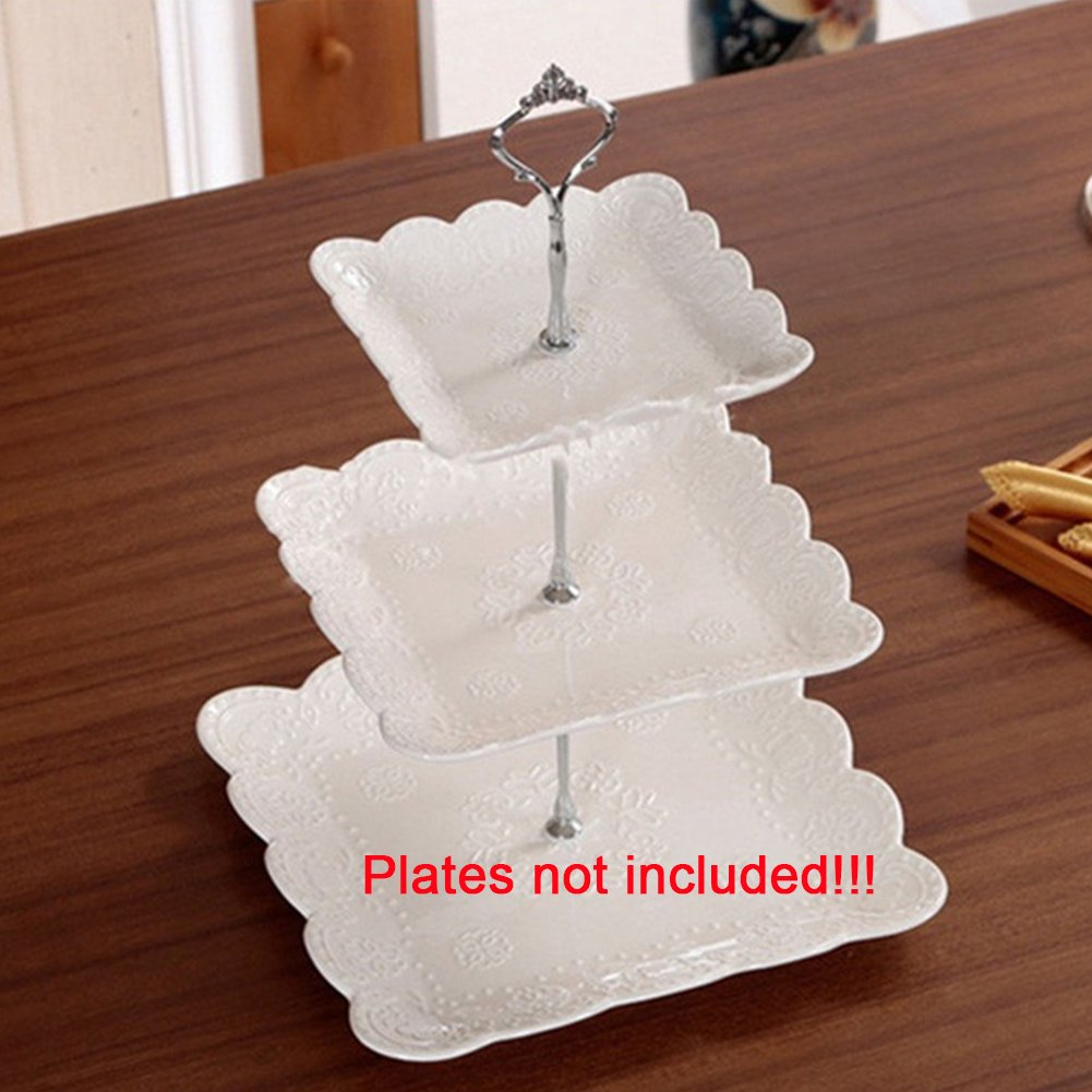 3 Tier Crown Fruits Cakes stand holder Cake Plate Stand Centre Handle Fittings for Wedding Party(Silver) by GEZICHTA (Image #2)