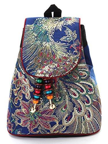 Vintage Phoenix Sequins Embroideried Women Backpack Daypack Travel Shoulder Bag