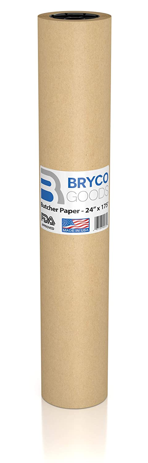 Brown Kraft Butcher Paper Roll - LONG 24 Inch x 175 Feet (2100 Inch) - Food Grade FDA Approved – Great Smoking Wrapping Paper for Meat of all Varieties – Made in USA – Unbleached, Unwaxed & Uncoated