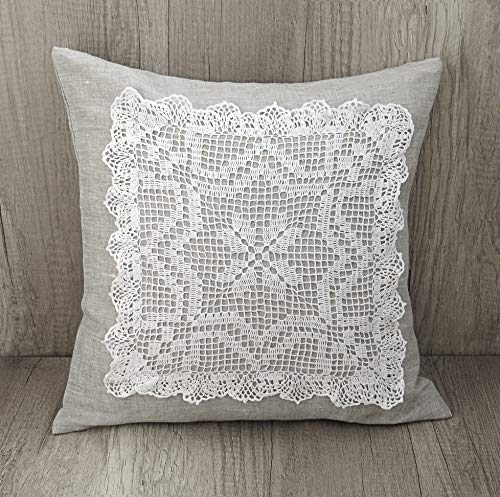 Filet crochet handmade throw pillow cover, Gray linen shabby chic embroidery pillow, Crochet needlework throw pillow Elegant lace embroidered cushion