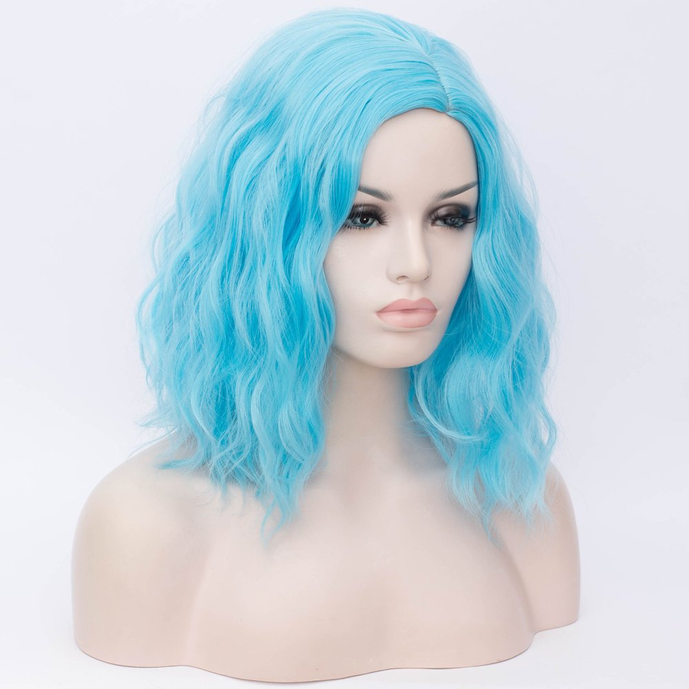 BERON 14 Women Girls Short Curly Bob Wavy Wig Body Wave Halloween Cosplay Daily Party Wigs White