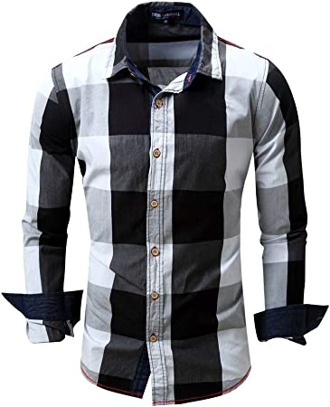 Camisas para Hombre Regular Fit, Camisa de algodón Casual a Juego de Color Cuadriculado de los Hombres Slim Fit Solapa Cuello Tops (M-XXL) para el Trabajo del Negocio del Partido Diario: Amazon.es: