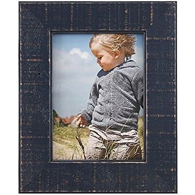 Fetco Home Decor F54856157 Dennis Reclaimed Wood Photo Frame, 5 x 7 , Blue