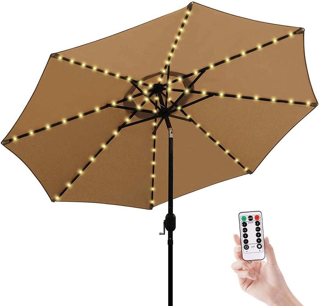 Warm Light 2021 New Upgrade Patio Umbrella Lights,Solar String Lights,104 LED 8 Modes Waterproof Solar Umbrella Lights with Remote Control for Patio Umbrellas Camping Tents