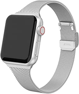 Compatible with Apple Watch Bands 38mm 40mm 42mm 44mm, Stainless Steel Metal Mesh Wristband Loop Replacement Band for Women Men Iwatch Series 6 5 4 3 2 1 with Gift Package (Silver, 38mm/40mm)