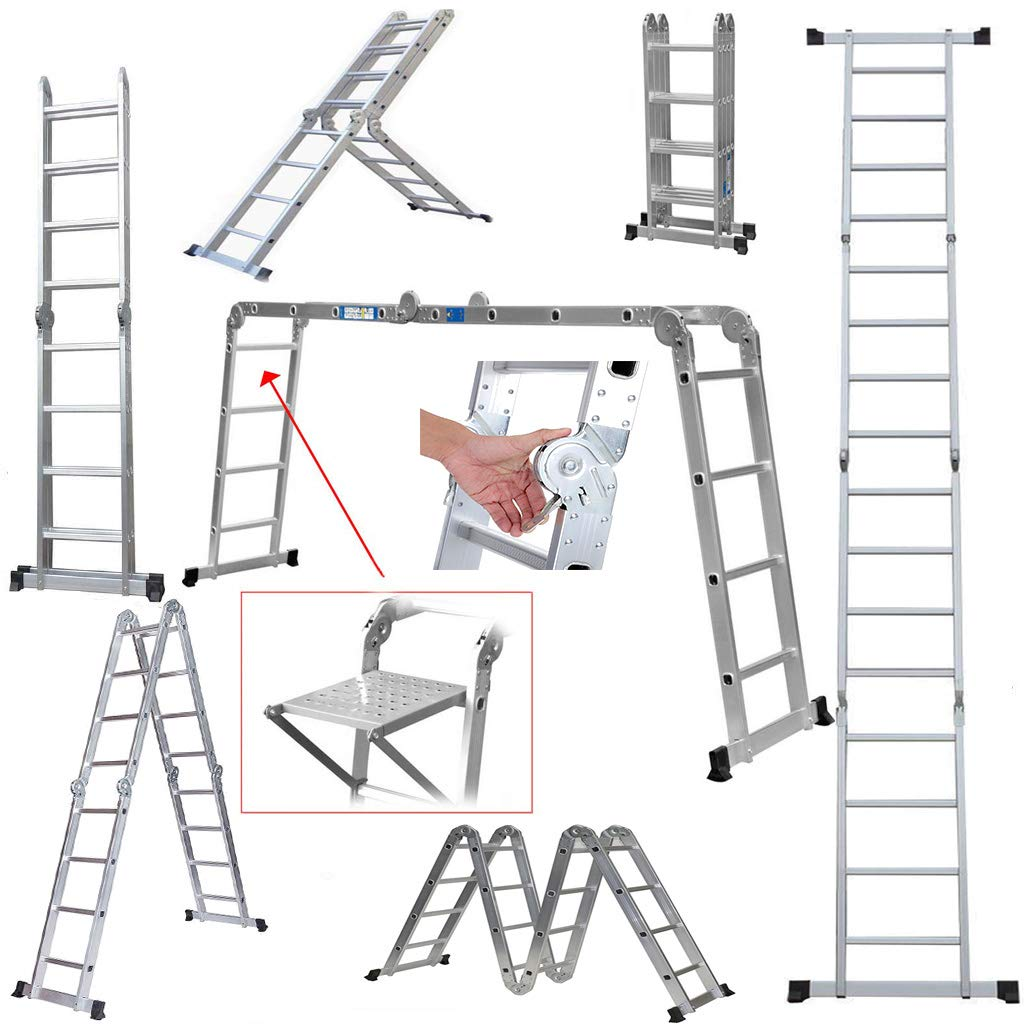 4.7m Heavy Duty Multi-Purpose extendable Ladder with Safety Locking Hinges Folding Combination Ladder with 1 Safety Tool Tray Manufactured to EN131 Part 1 and 2 Specifications ZanGe Factory