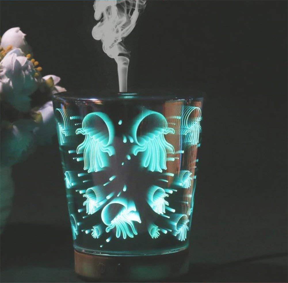 NANIH Home 3D Aroma Diffusor Aromatherapie ätherisches Öl Luftbefeuchter Ultraschall 7 Farbe LED Lichtwechsel Home Schlafzimmer Yoga Spa, Mehrfarben Umgebungslicht