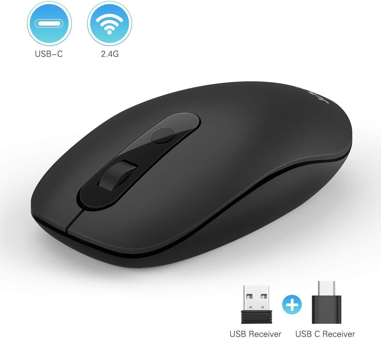 Jelly Comb 2.4G Ratón Inalámbrico y Ratón USB C 2 en 1 óptico Silencioso 4 Niveles dpi para Computadora Tablet PC Smartphone, Negro