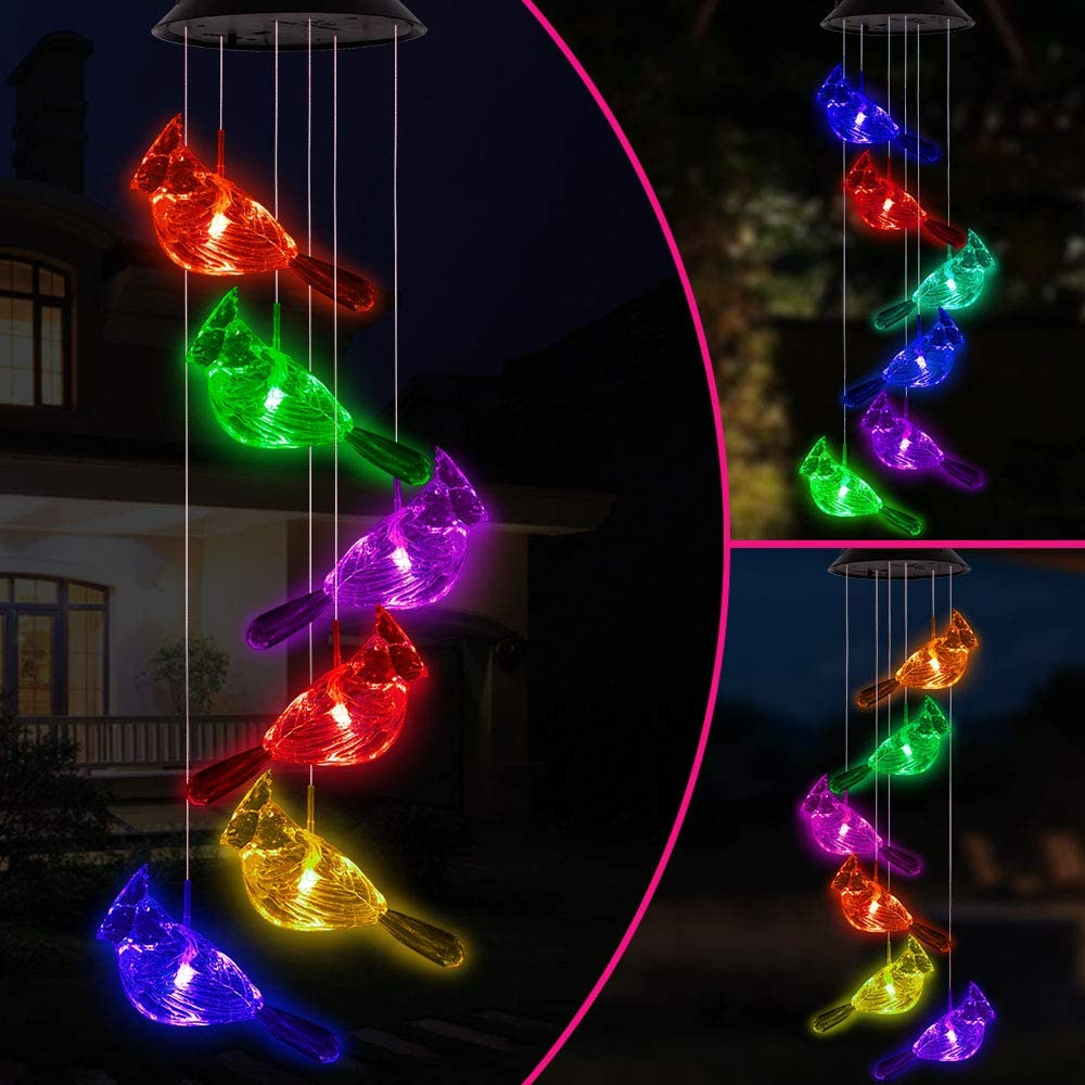 Color Changing Cardinal Solar Wind Chimes Portable Waterproof Solar Powered Cardinal Windchime Light Outdoor Hanging Solar Cardinals LED Wind Chime for Festival, Home, Yard, Lawn, Patio, Garden Decor