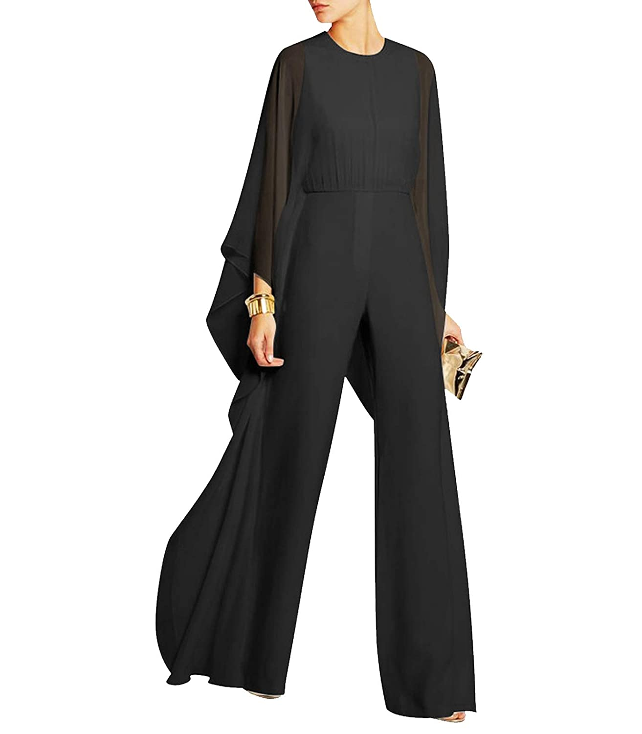 420636371c1d YIFAN DREAM Women Jumpsuit Playsuit Chiffon Long Pants Summer Elegant Party  Evening Clubwear Loose Wide Leg Trousers Long Sleeve Outfit Rompers Dress  for ...