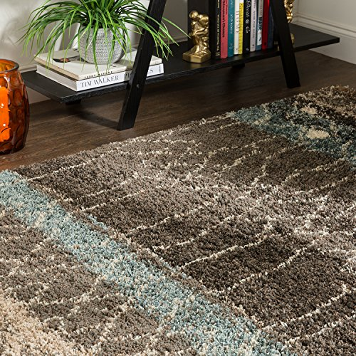 Mohawk Home Huxley Adobe Abstract Woven Shag Area Rug, 5' x 8', Multicolor ()