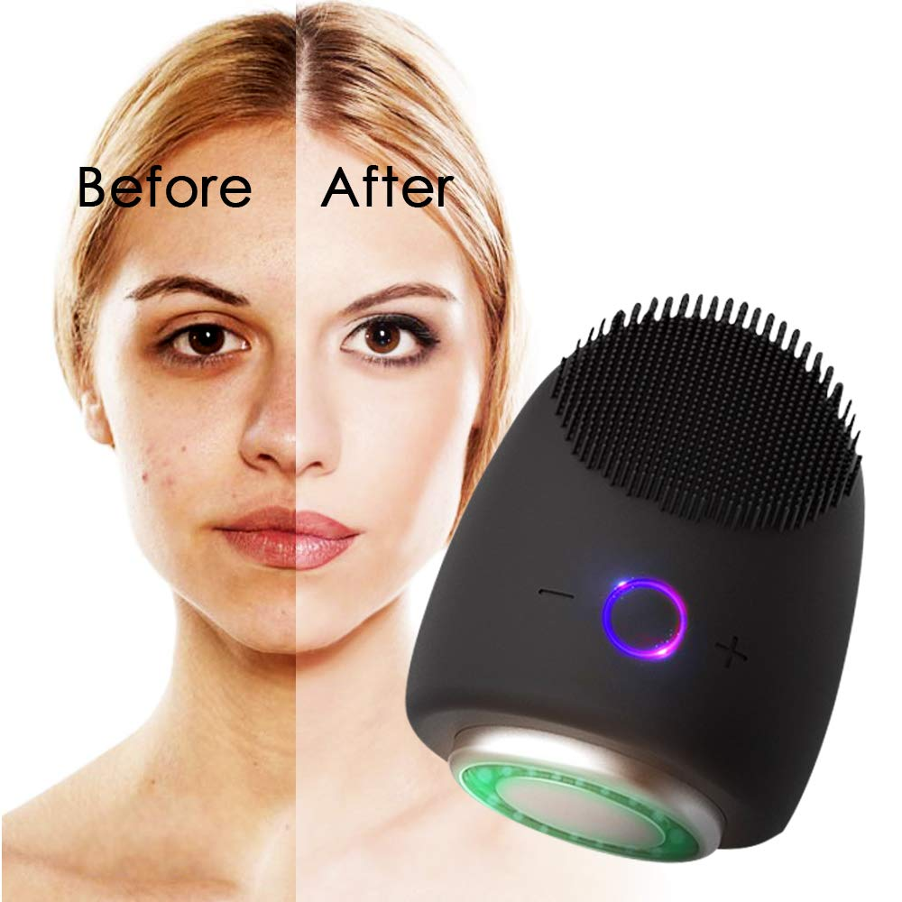 5 in 1 Facial Cleansing Brush Waterproof Rechargeable Mini Silicone Massager for Deep Face Cleansing Reducing Blackhead Acne Anti-Aging Exfoliating Phototherapy Beauty Instrument(black)
