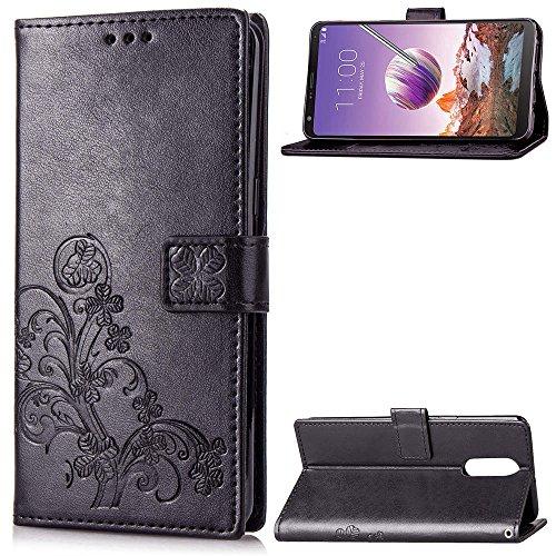 LG Q Stylo 4 Case,LG Q Stylo 4 Case,Closure Premium PU Leather Wallet Snap Case Closure Closure Flip Cover for LG Q Stylo 4 Black
