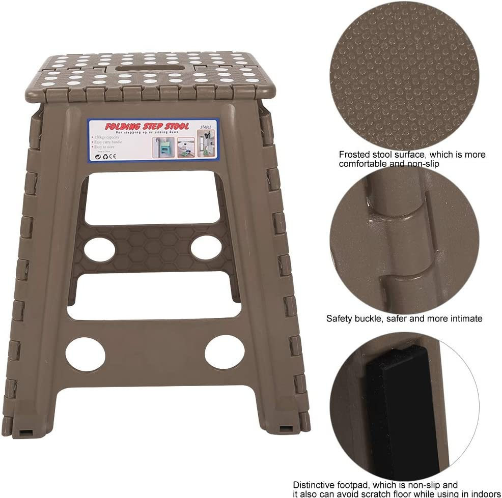 Ymiko Plastic Stool Portable Foldable Step Stool for Indoor Hiking Fishing(Black) Brown