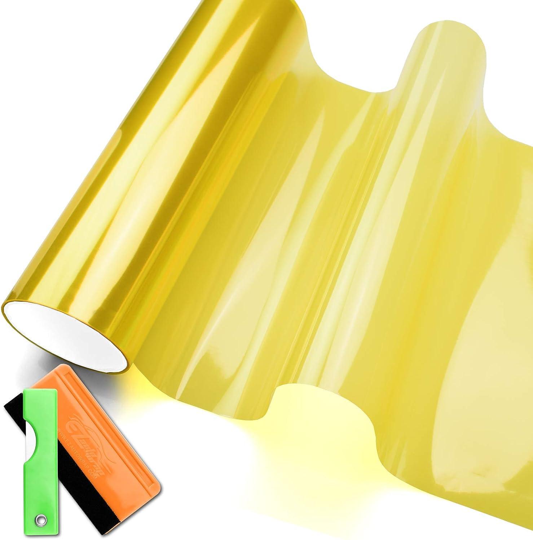 "16/""X48/"" Extra Wide Neon Yellow Headlight Taillight Fog Light Vinyl Tint Film"