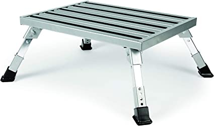 Camco Adjustable Height Aluminum Platform Step- Supports Up to 1,000 lb