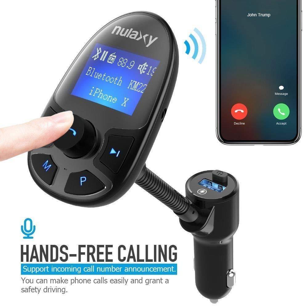 Transmisor FM,Nulaxy Bluetooth FM Transmitter inal/á mbrico