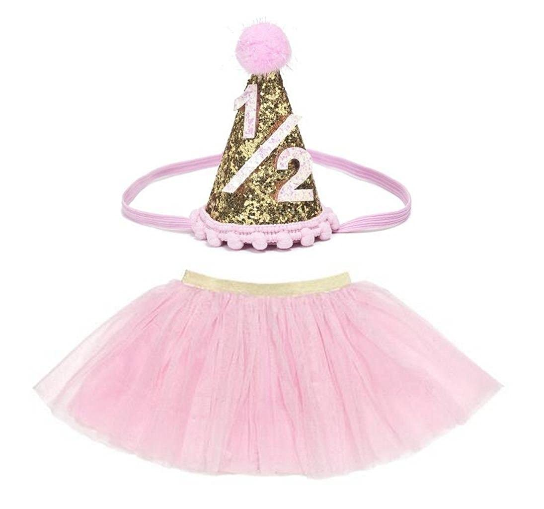 Kristins Great Finds Exclusive 6M Milestone Girls Party 1//2 Felt Hat Headband Tulle Tutu Skirt Pink and Gold