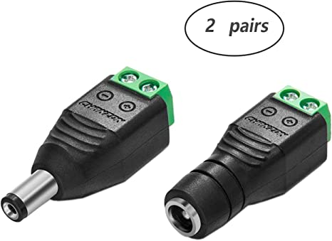 40Pcs Power Cable Female /& Male Plug Connector DC 5.5mm x 2.1mm For CCTV Camera