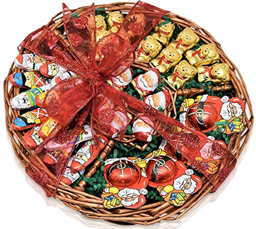 Christmas Chocolate Variety Gift Basket- Santa's and Bears Chocolate Christmas Decorative Pack - Send a Prime Basket for Man, Woman & Families ,Offices , Military