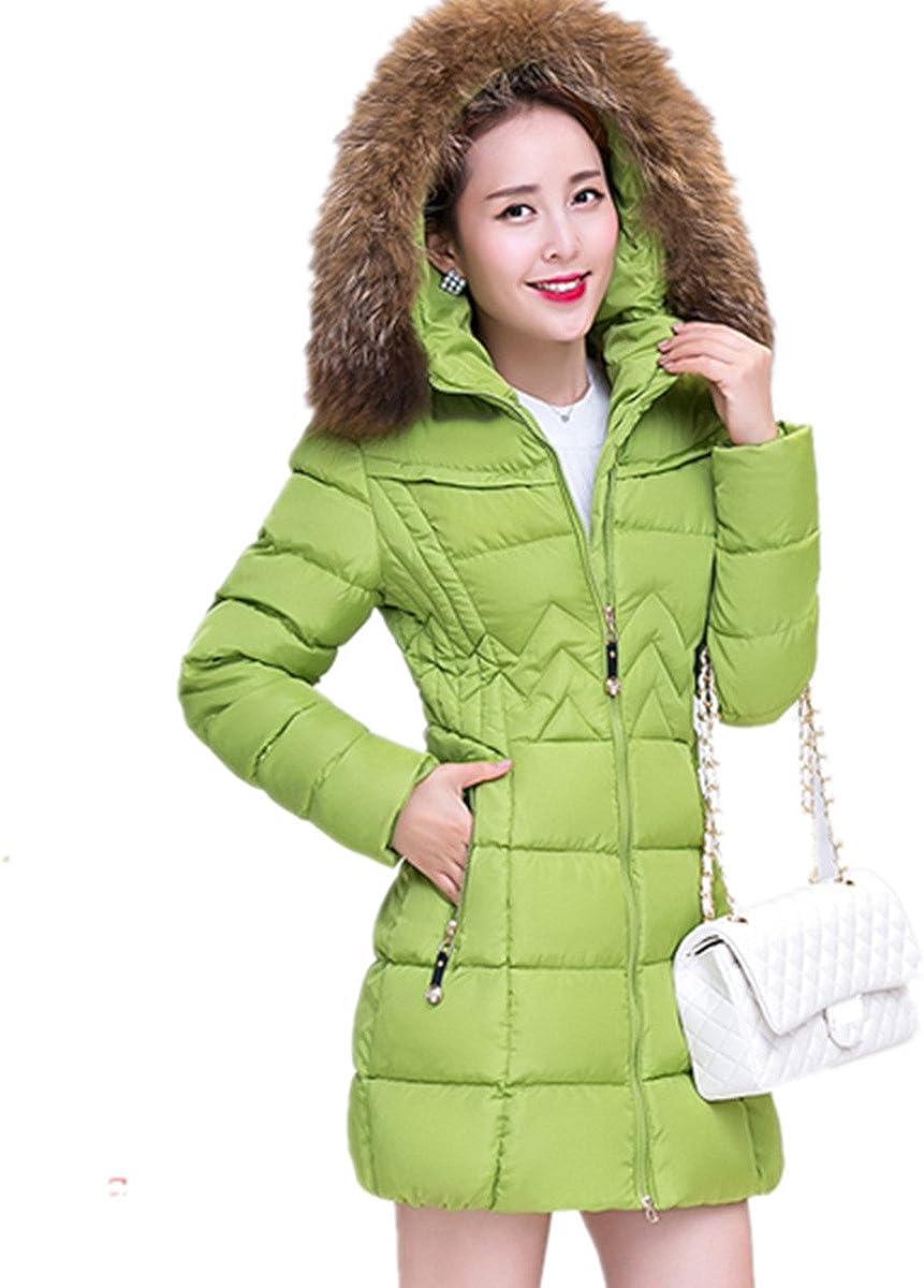 Guandoo Womens Warm Slim Fit Faux Fur Hood Down Coat Jacket