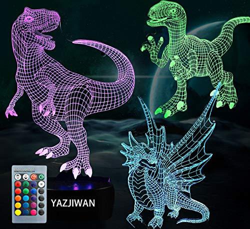 Amazon.com: 3 luces de noche 3D dinosaurio: lámpara de noche ...