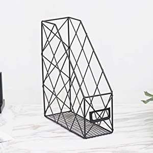 GEZICHTA Desktop Books Holder Mail Organizer Metal Chicken Wire Wall Mount Magazine Rack for Home and Office, Black