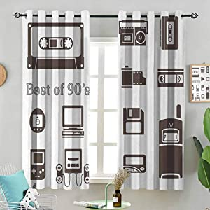 Window Treatment Curtains Gadget of 90s Icons Pattern with Desktop Computer Video Game Joystick Nostalgia Theme Print W72 x L45 Inch (2 Panels) Grommet Top for Bedroom