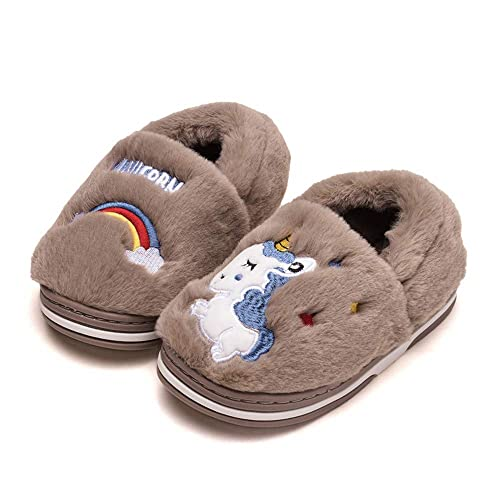 Girls Cute Unicorn Indoor Outdoor Slippers with Anti-Slip Rubber Sole Shoes