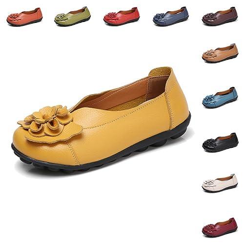 Gaatpot Mujer Mocasines de Cuero Verano Vintage Flores Loafers Zapatos Casual Respirable Planos de Deslizamiento Zapatos de Conducción Zapatos Zapatillas ...
