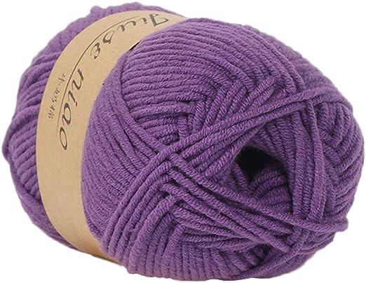 Rollo de lana de algodón para tejer a mano de 41 colores, lana de crochet de algodón para bebé: Amazon.es: Hogar