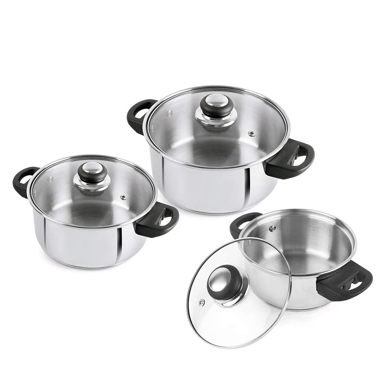 Cello Steelox Induction Compatible Stainless Steel Casserole/Handi Set of 3 with Glass Lid